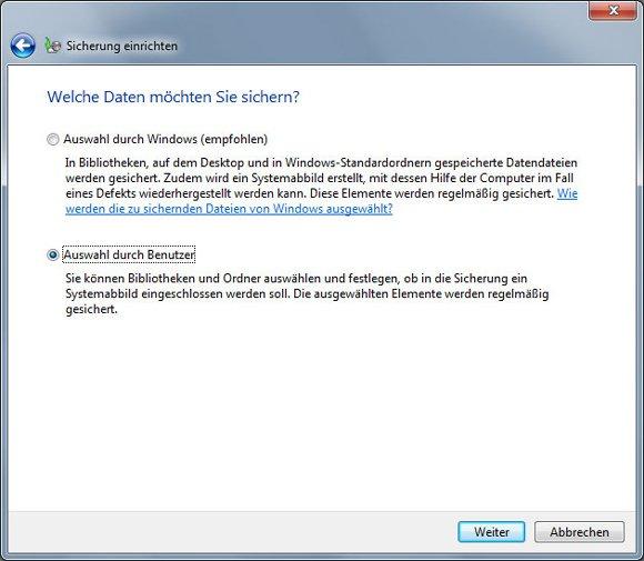 Windows 7 sichern und wiederherstellen