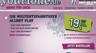 Yourfone Allnet-Flat inkl. Internet-Flat (500 MB) für 19,90 Euro