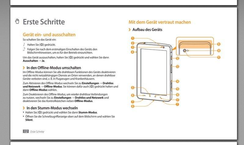 Das Samsung Galaxy Tab Handbuch führt uns in unser Gerät ein