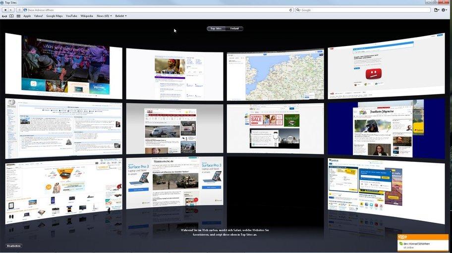"""Andere Browser brauchen dafür eine Erweiterung - Safari bietet """"Top-Sites"""""""