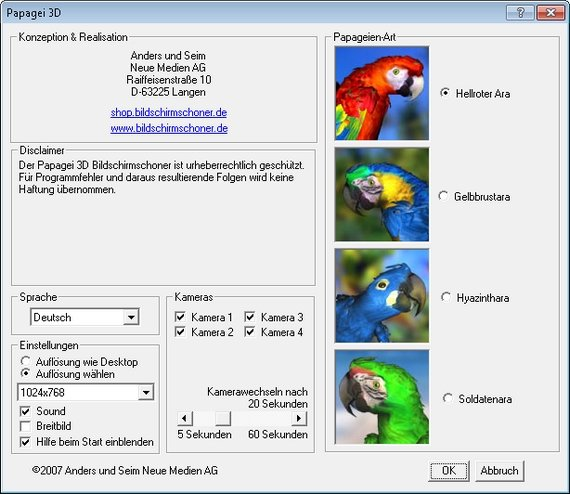 Papagei 3D bietet u.a. die Möglichkeit, verschiedene Ara-Arten, Auflösungen und Kameraperspektiven einzustellen