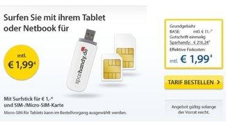 Surf-Stick mit Micro-SIM und Base Internet-Flat (500 MB) für effektive 1,99 Euro/ Monat