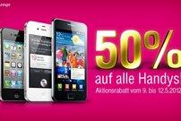50% Rabatt auf aktuelle Smartphones und Tablets wie iPhone 4S und iPad 2 bei der Telekom