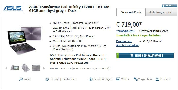 ASUS Transformer Pad Infinity TF700T bei Cyberport