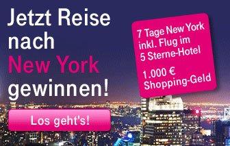 Jetzt beim Telekom-Gewinnspiel eine Reise nach New York gewinnen
