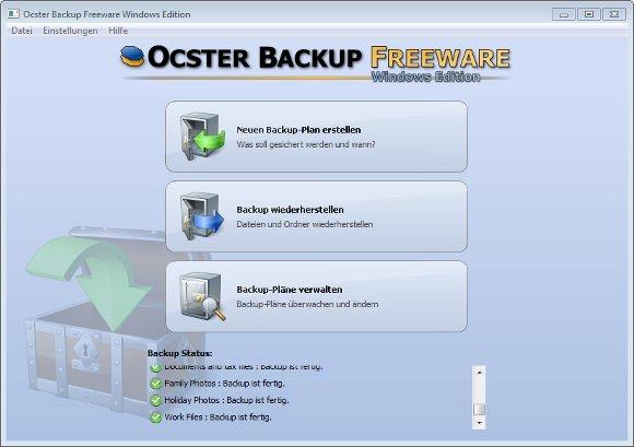 Der Startbildschirm von Ocster Backup Free