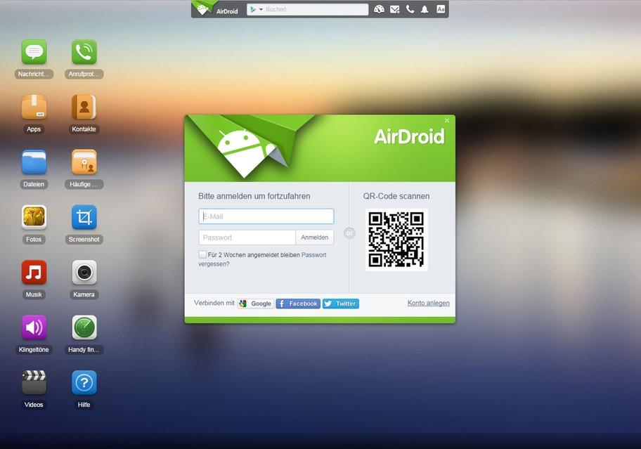 AirDroid: Einfach im Browser einloggen und alle Funktionen nutzen