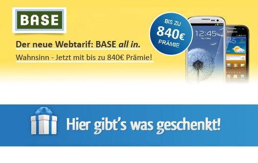 Samsung Galaxy S III mit BASE all in für 10 Euro monatlich