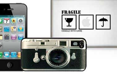 iPhone-Hüllen im Retro-Design und Apfelaufkleber bei Fab.de