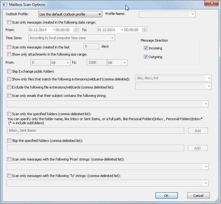 OutlookAttachView durchsucht das Postfach auf E-Mail-Anhänge
