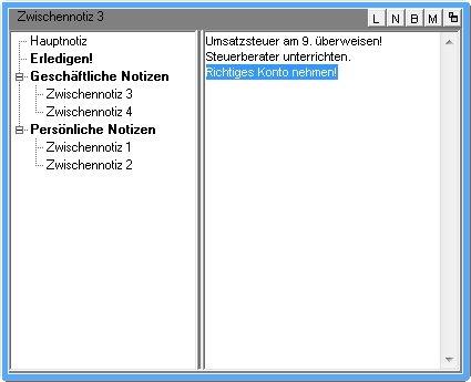 Quicknote verwaltet die Notizen übersichtlich und erinnert sogar an Termine
