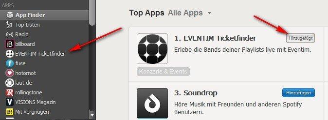 Spotify-Apps hinzufügen