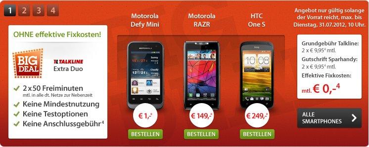 Deal: Motorola RAZR, Defy Mini oder HTC One S ohne effektive Fixkosten