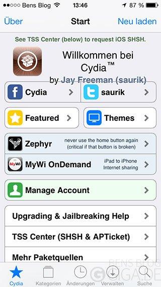 Cydia Startseite