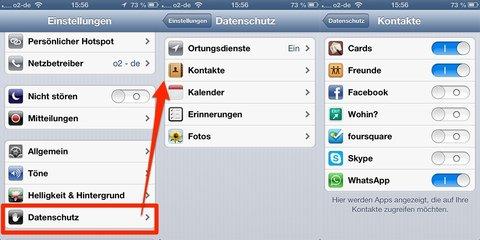 iOS 6 Datenschutz-Einstellungen