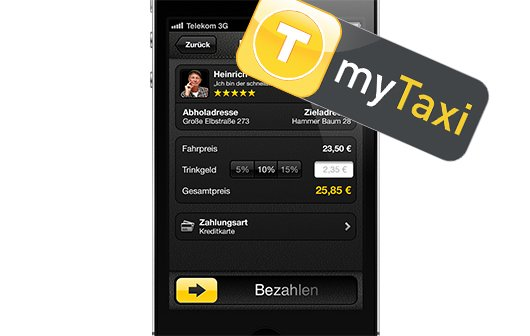 mytaxi das iphone bezahlt mein taxi giga. Black Bedroom Furniture Sets. Home Design Ideas