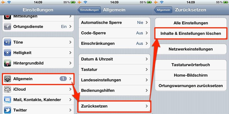 iphone 5 software komplett löschen
