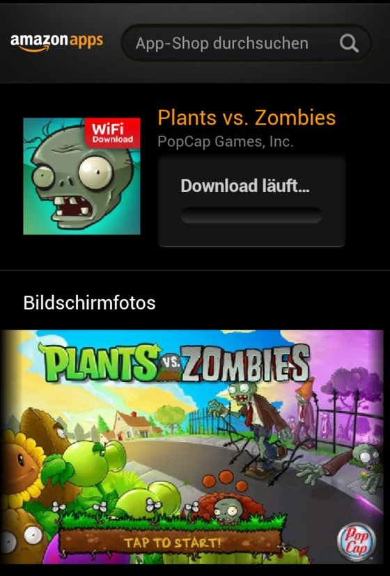 Amazon App Plants vs. Zombies