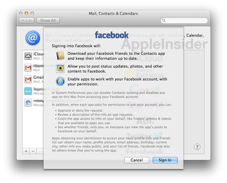 Mountain Lion 10.8.2: Erste Bilder von Facebook-Integration