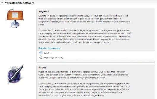 iWork: Apple bietet Vorinstallation als Built-to-order-Option im Apple Store an