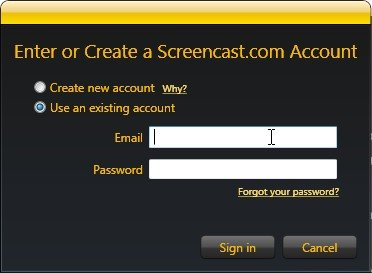jing screencast account