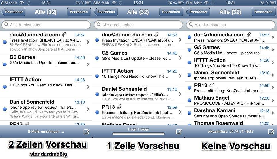 Mail-App E-Mail-Vorschau - Vergleich
