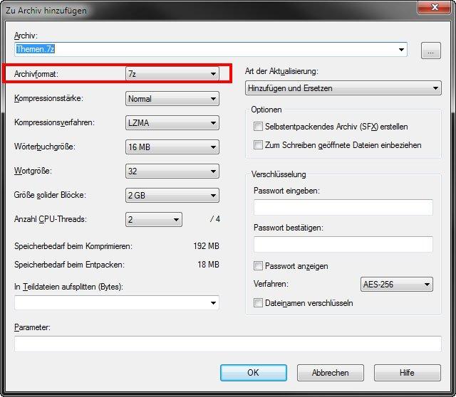 7-Zip: Hier könnt ihr auch TAR oder ZIP als Dateiformat auswählen.