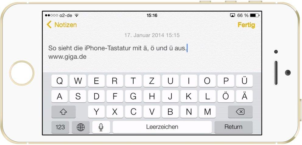 iPhone-Tastatur mit Umlaute Ä, Ö und Ü.