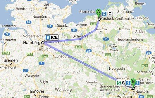 Deutsche Bahn auf Google Maps - leider unuchbar on