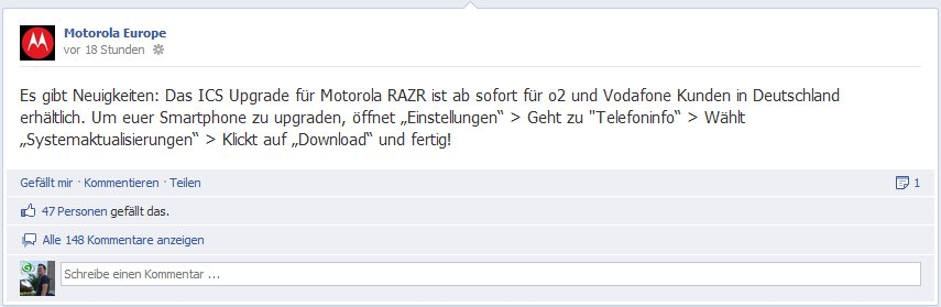 Motorola Europe - Facebook Post
