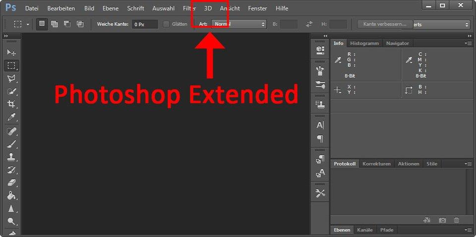 Photoshop CS6 Extended hat einige Vorteile gegenüber der Standard-Version. Ihr erkennt sie am 3D-Menü.