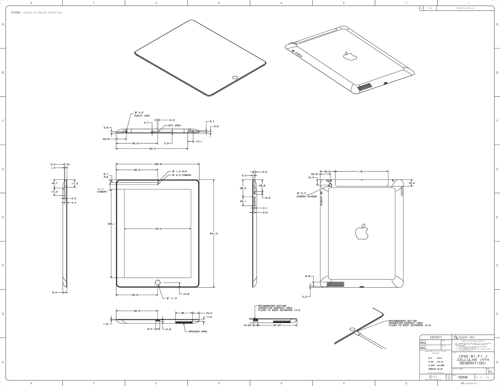 ipad mini und ipad 4 apple nennt detaillierte ma e giga. Black Bedroom Furniture Sets. Home Design Ideas