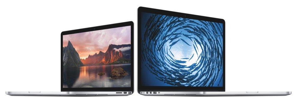 Das neue MacBook Pro 13 Zoll (links) neben dem 15-Zoll-Modell.