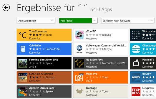 Windows 8 Store: Alle Apps (mehr als 5000) anzeigen lassen, richtig suchen