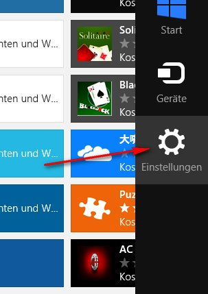 Windows-Store: Einstellungen
