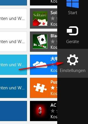 Windows-Store: Einstellungen