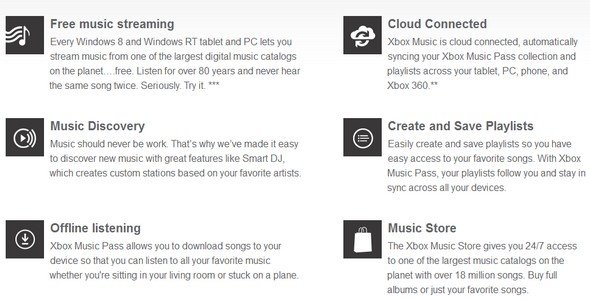 xbox music - features
