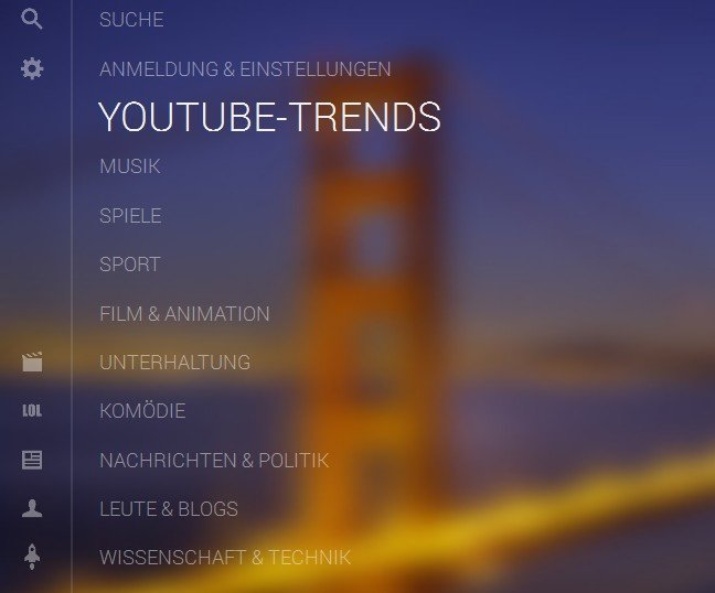 youtube tv kategorien