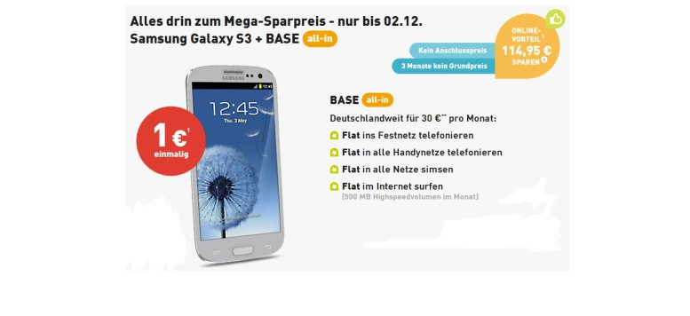 BASE all-in drei Monate ohne Grundpreis mit Samsung Galaxy S3