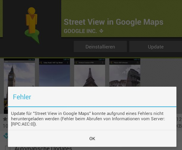 Google Play Store Download Fehler