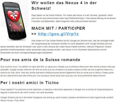 Nexus 4 für die Schweiz