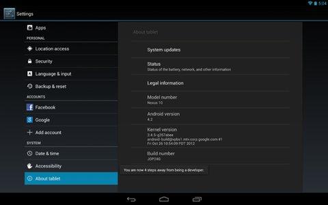 Android 4.2 Entwickleroptionen