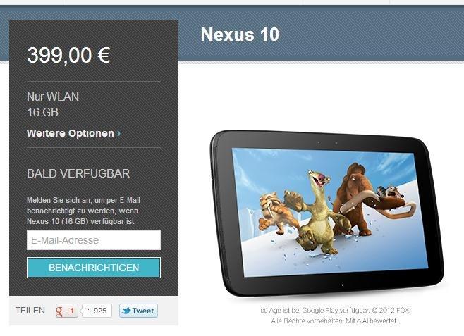 nexus-10-ausverkauf