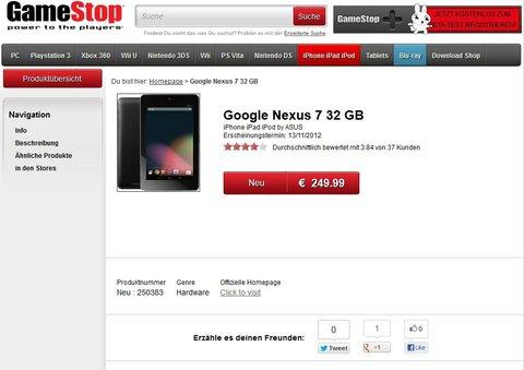 Nexus 7 bei Gamestop