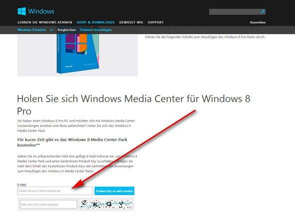 Windows-Media-Center-Pack - Key anfordern
