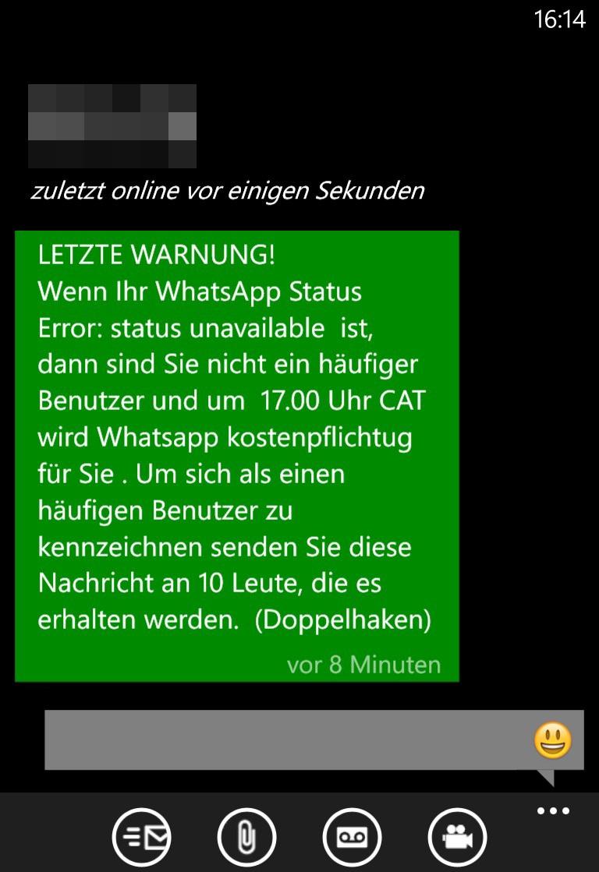 Letzte Warnung Whatsapp