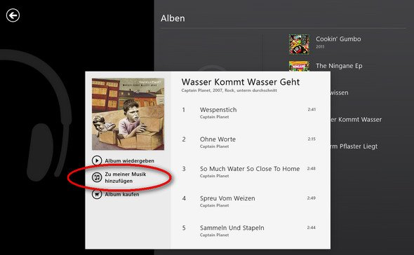 Xbox-Music: Album hinzufügen
