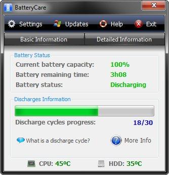 BatteryCare Hauptfenster