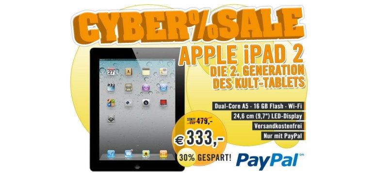 Das iPad 2 mit 16 GB für 333,00 Euro im Cybersale