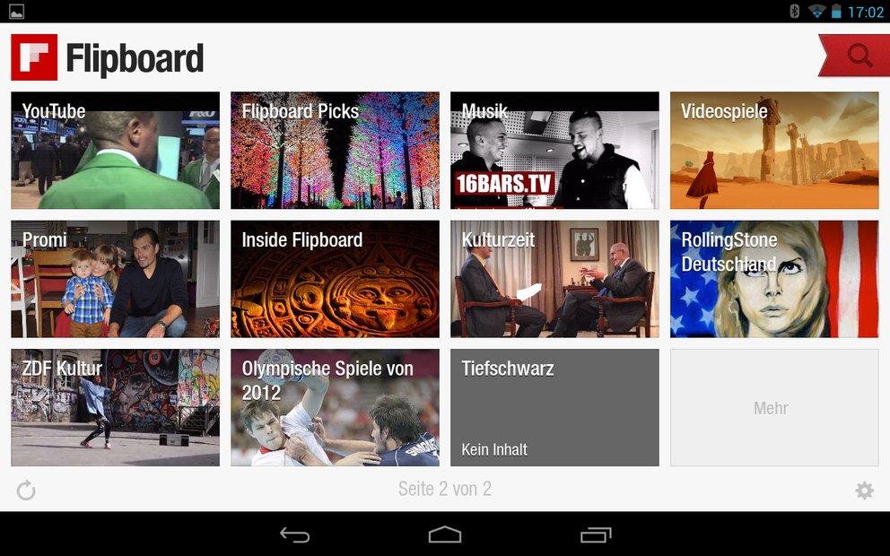Flipboard jetzt auch als Tablet-Version